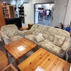 Sofa mit Hocker & Sessel