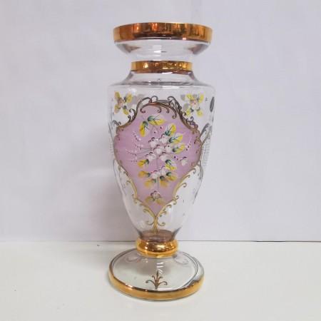 Glasvase mit Blumendekor