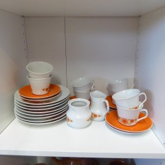 kaffeservice Weiß-Orange