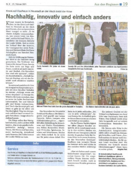 Zeitungsartikel - Kaufhaus Neustadt
